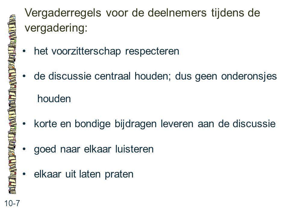 Vergaderregels voor de deelnemers tijdens de vergadering: