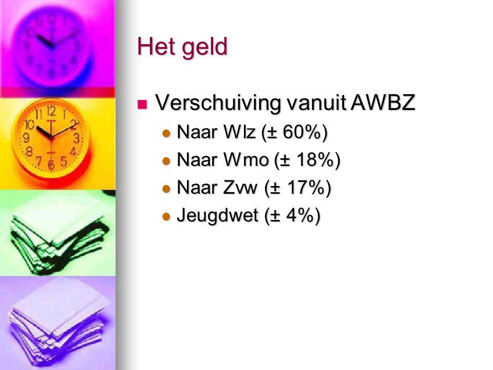 Het geld Verschuiving vanuit AWBZ Naar Wlz (± 60%) Naar Wmo (± 18%)