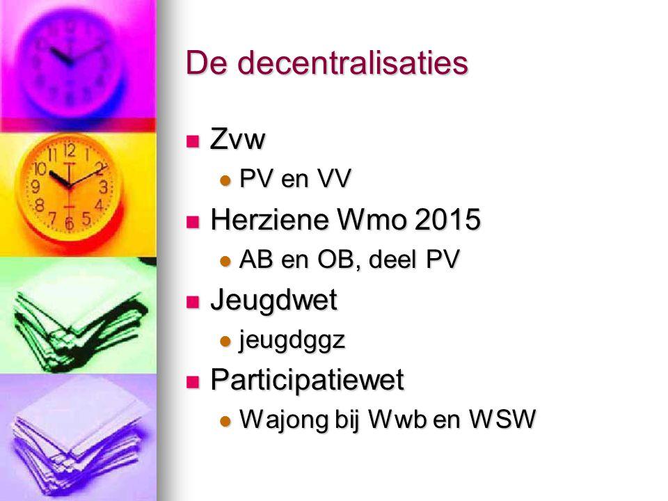 De decentralisaties Zvw Herziene Wmo 2015 Jeugdwet Participatiewet