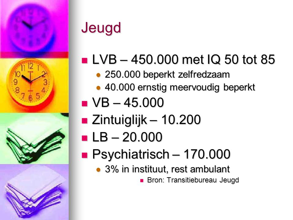 Jeugd LVB – 450.000 met IQ 50 tot 85 VB – 45.000 Zintuiglijk – 10.200