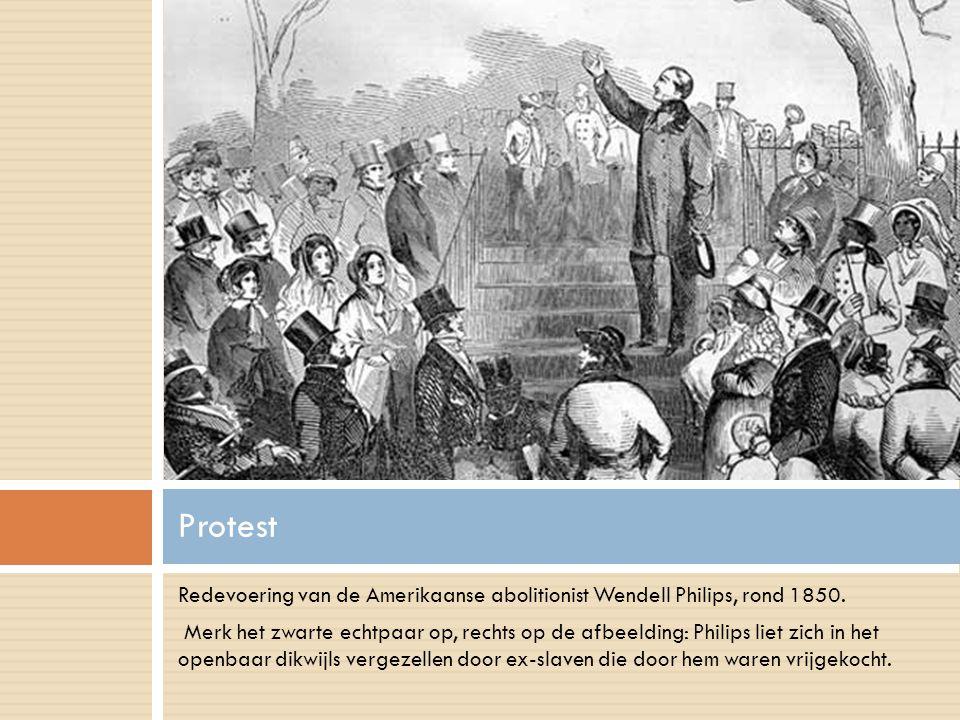 Protest Redevoering van de Amerikaanse abolitionist Wendell Philips, rond 1850.
