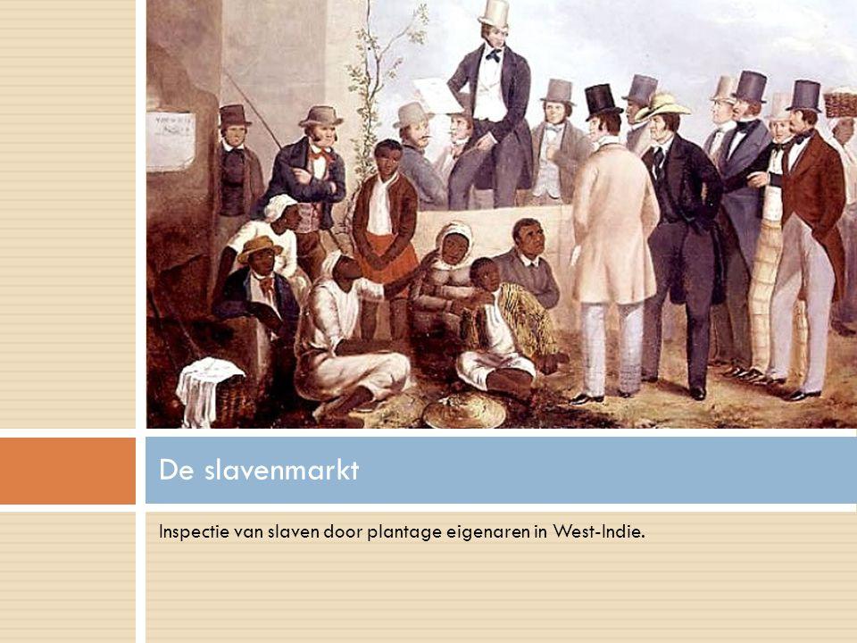 De slavenmarkt Inspectie van slaven door plantage eigenaren in West-Indie.