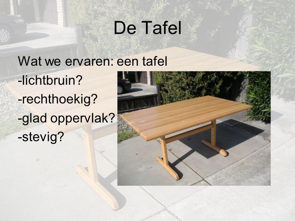 De Tafel Wat we ervaren: een tafel -lichtbruin -rechthoekig