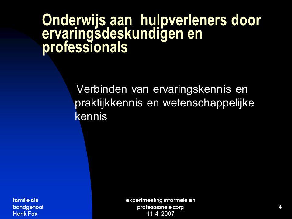 Onderwijs aan hulpverleners door ervaringsdeskundigen en professionals