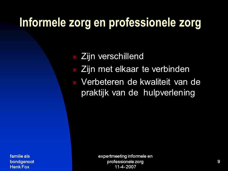 Informele zorg en professionele zorg