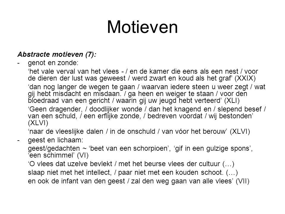 Motieven Abstracte motieven (7): - genot en zonde: