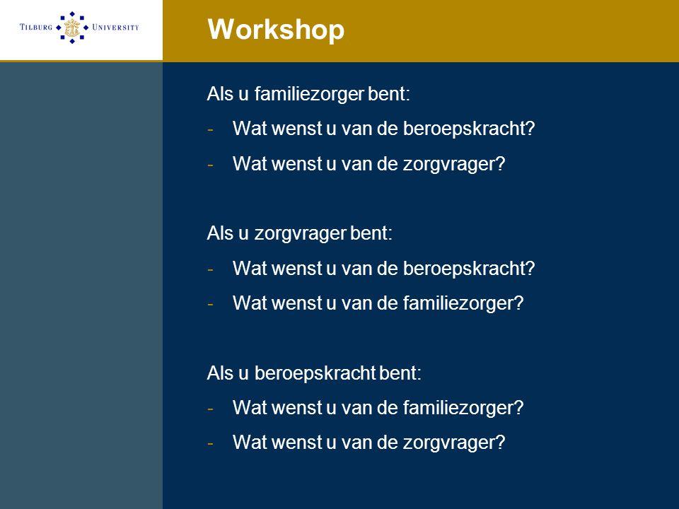 Workshop Als u familiezorger bent: Wat wenst u van de beroepskracht
