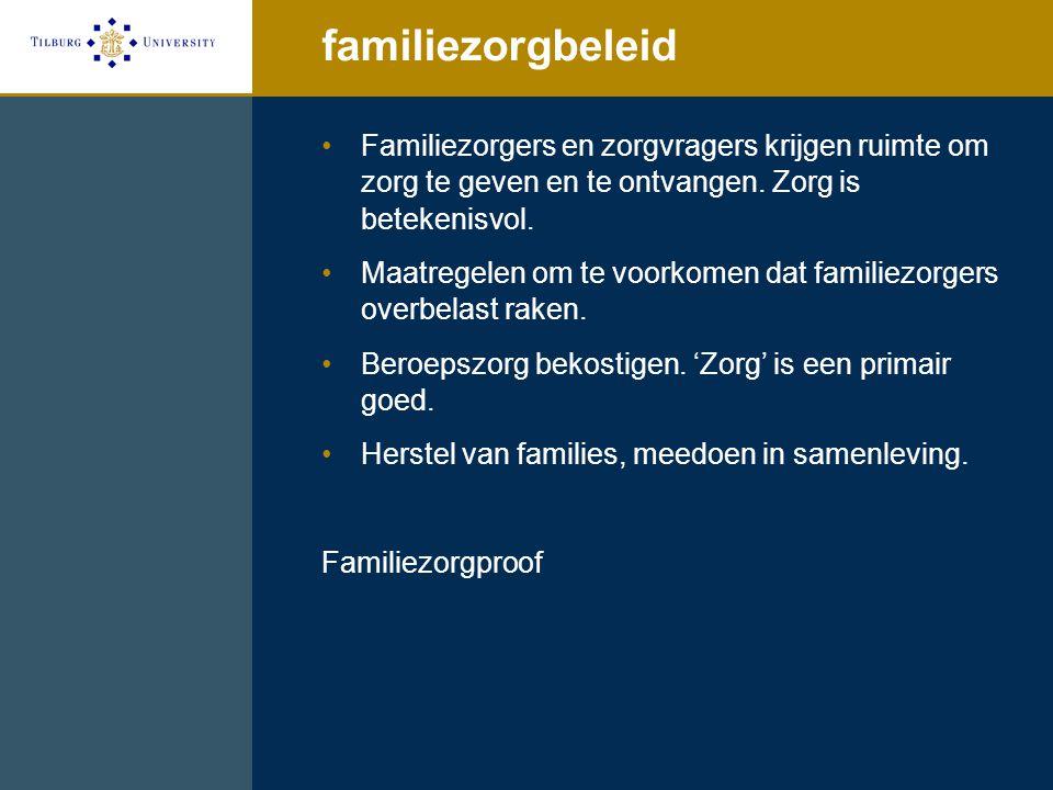 familiezorgbeleid Familiezorgers en zorgvragers krijgen ruimte om zorg te geven en te ontvangen. Zorg is betekenisvol.