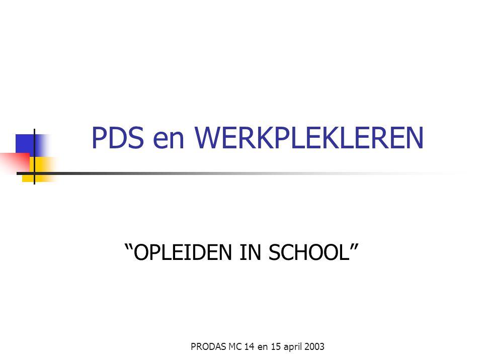 PDS en WERKPLEKLEREN OPLEIDEN IN SCHOOL