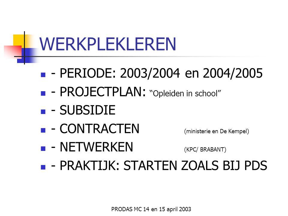 WERKPLEKLEREN - PERIODE: 2003/2004 en 2004/2005