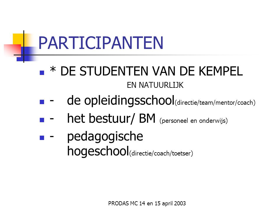 PARTICIPANTEN * DE STUDENTEN VAN DE KEMPEL