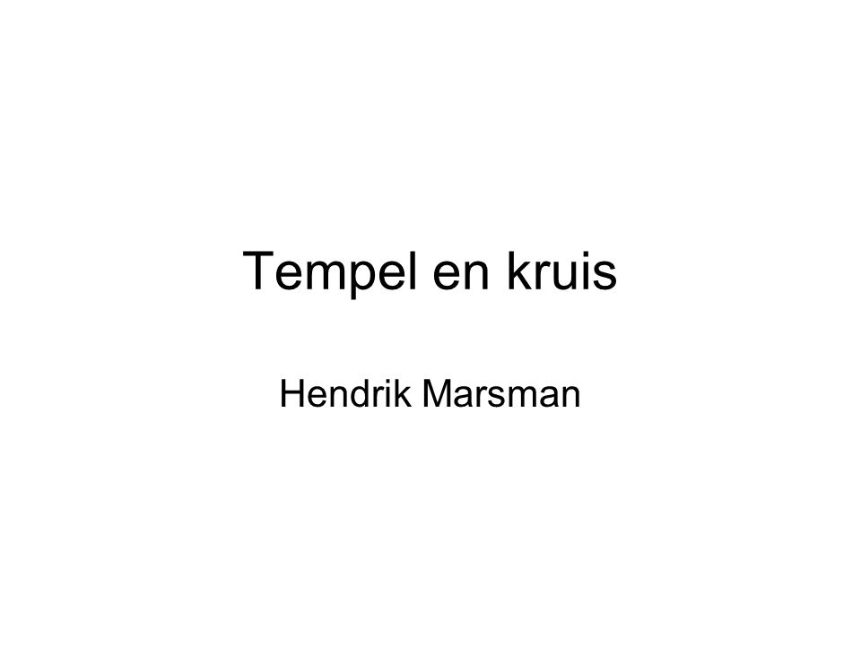 Tempel en kruis Hendrik Marsman