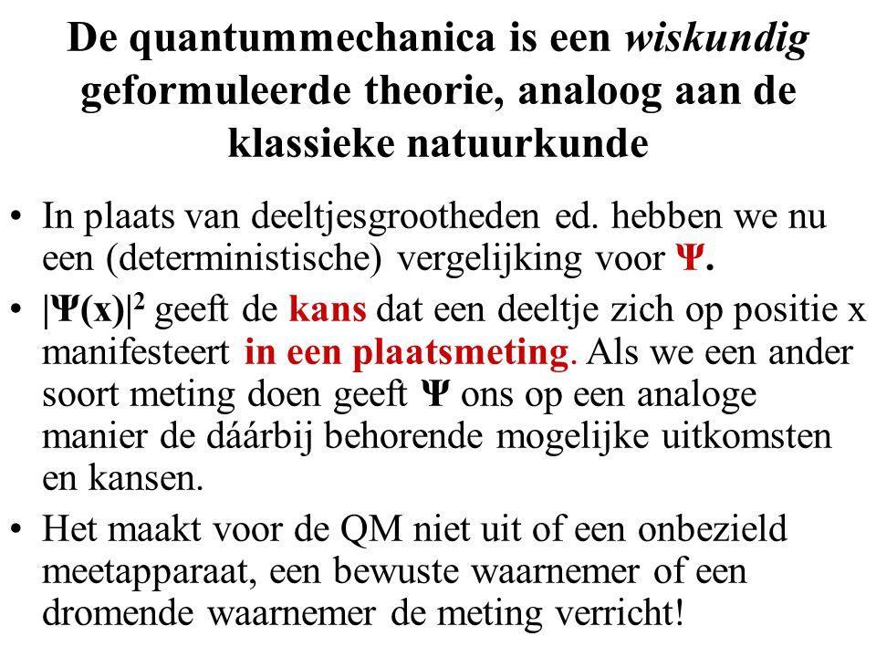 De quantummechanica is een wiskundig geformuleerde theorie, analoog aan de klassieke natuurkunde