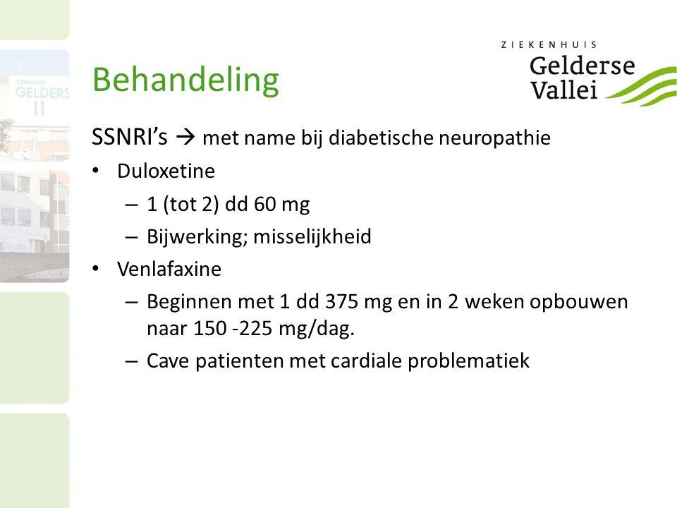 Behandeling SSNRI's  met name bij diabetische neuropathie Duloxetine