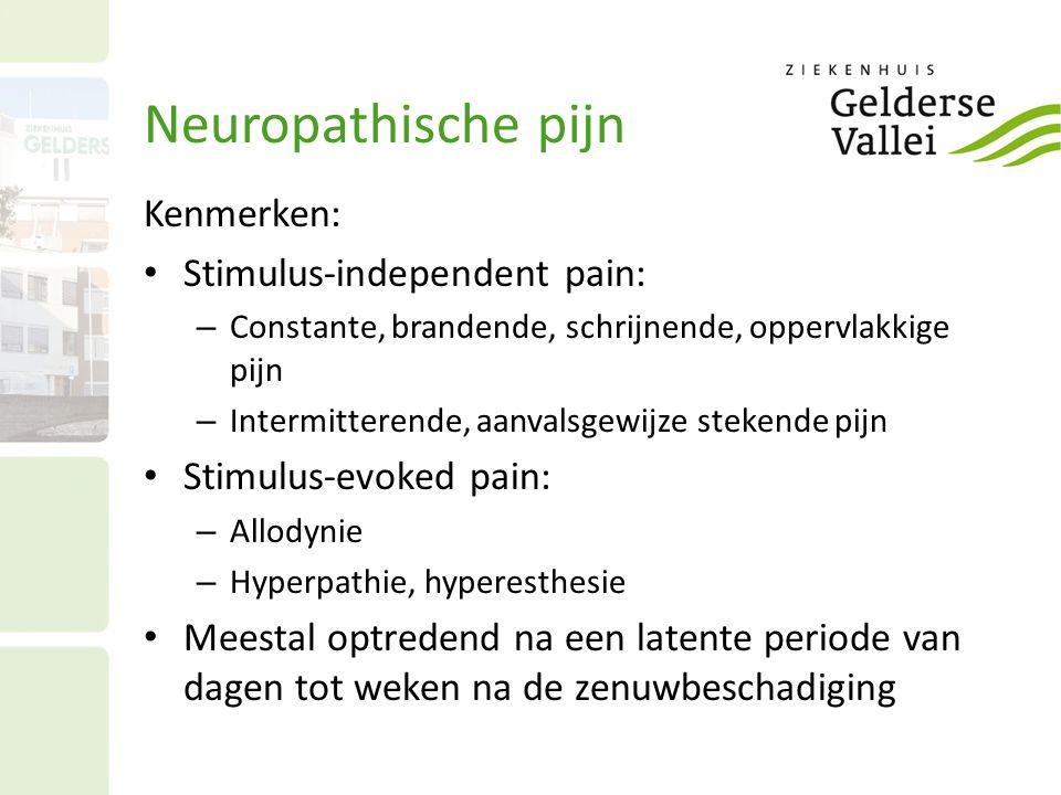Neuropathische pijn Kenmerken: Stimulus-independent pain: