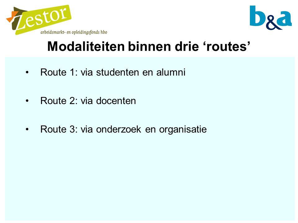 Modaliteiten binnen drie 'routes'