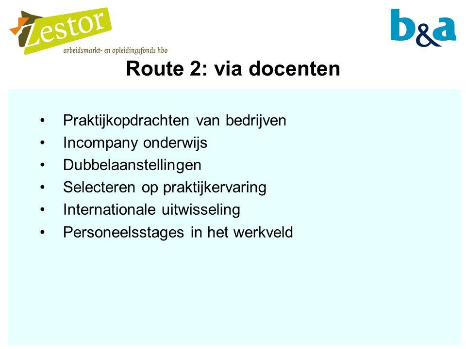 Route 2: via docenten Praktijkopdrachten van bedrijven