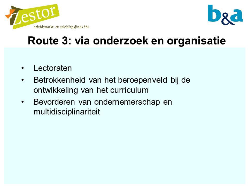 Route 3: via onderzoek en organisatie