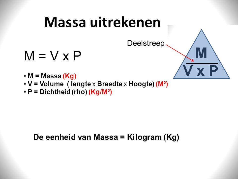 Massa uitrekenen M = V x P Deelstreep