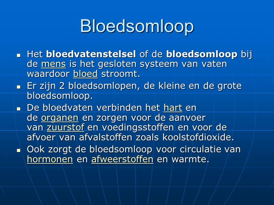 Bloedsomloop Het bloedvatenstelsel of de bloedsomloop bij de mens is het gesloten systeem van vaten waardoor bloed stroomt.