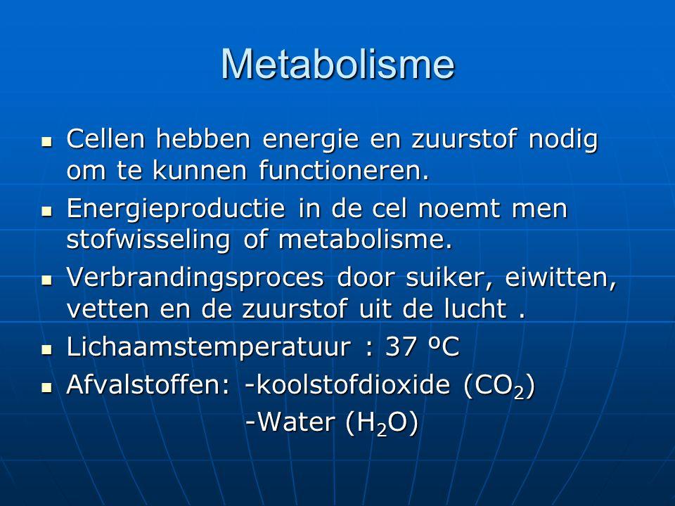Metabolisme Cellen hebben energie en zuurstof nodig om te kunnen functioneren. Energieproductie in de cel noemt men stofwisseling of metabolisme.