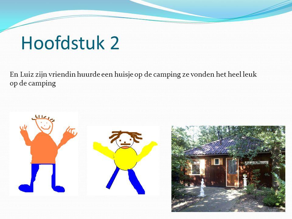 Hoofdstuk 2 En Luiz zijn vriendin huurde een huisje op de camping ze vonden het heel leuk op de camping.
