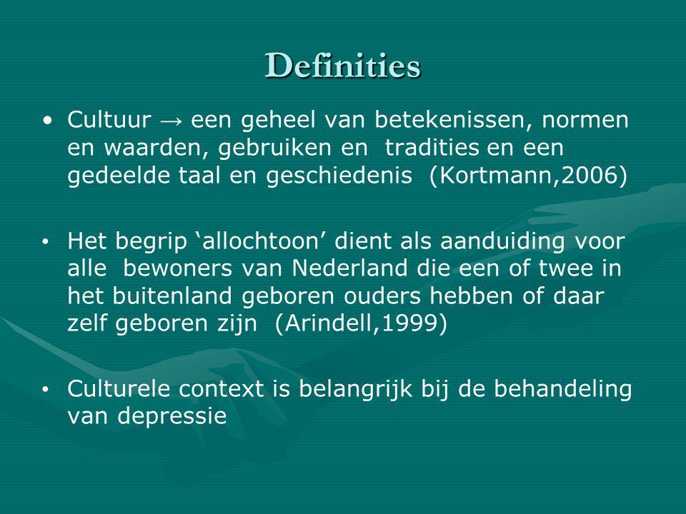 Definities Cultuur → een geheel van betekenissen, normen en waarden, gebruiken en tradities en een gedeelde taal en geschiedenis (Kortmann,2006)