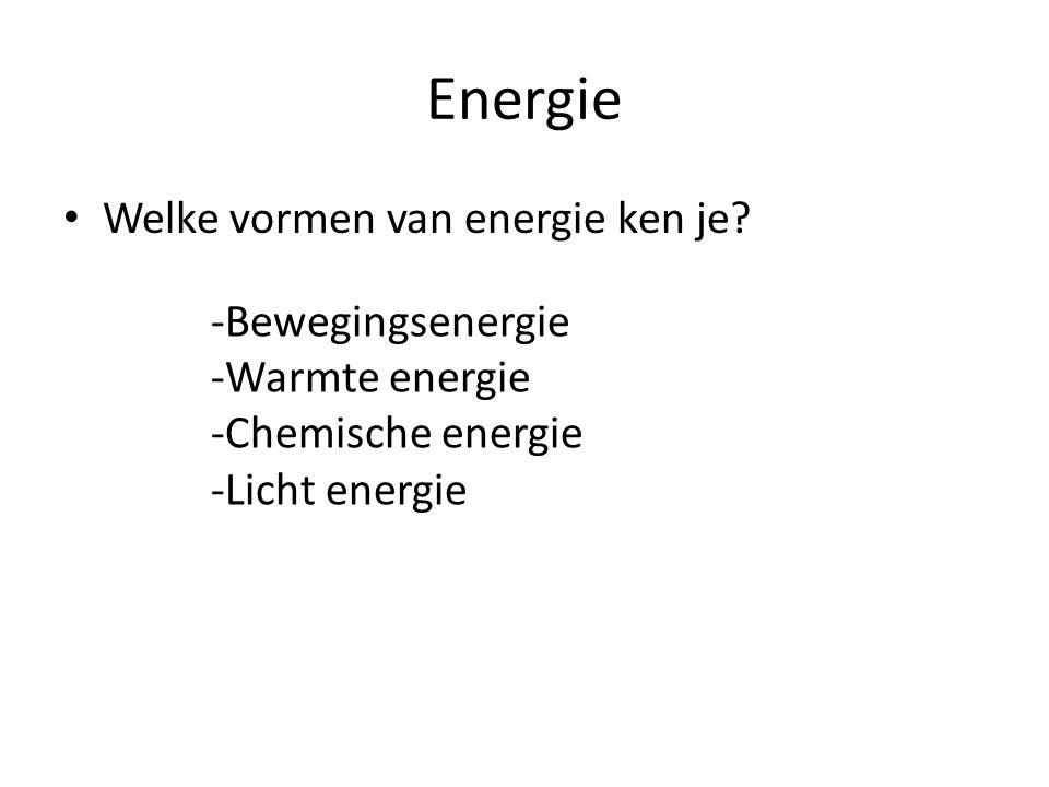 Energie Welke vormen van energie ken je -Bewegingsenergie