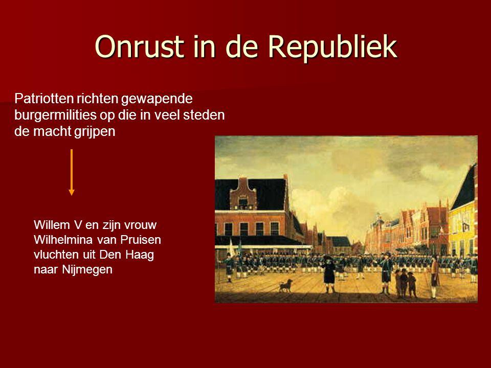Onrust in de Republiek Patriotten richten gewapende burgermilities op die in veel steden de macht grijpen.