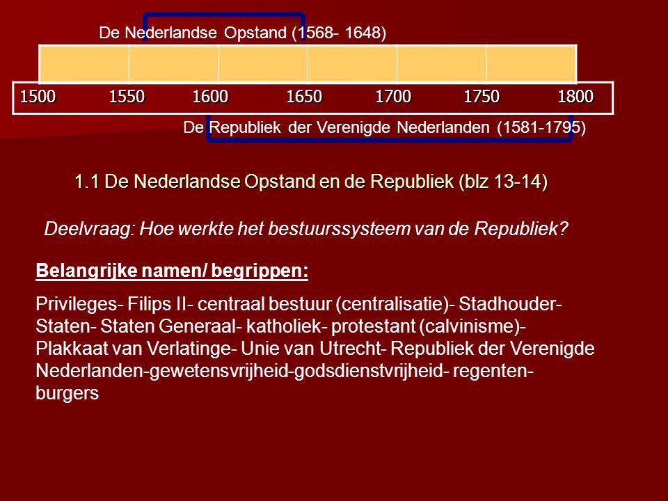 1.1 De Nederlandse Opstand en de Republiek (blz 13-14)