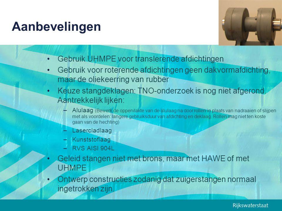 Aanbevelingen Gebruik UHMPE voor translerende afdichtingen