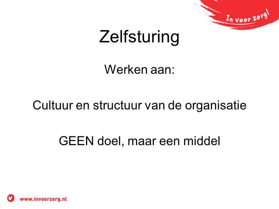 Zelfsturing Werken aan: Cultuur en structuur van de organisatie GEEN doel, maar een middel