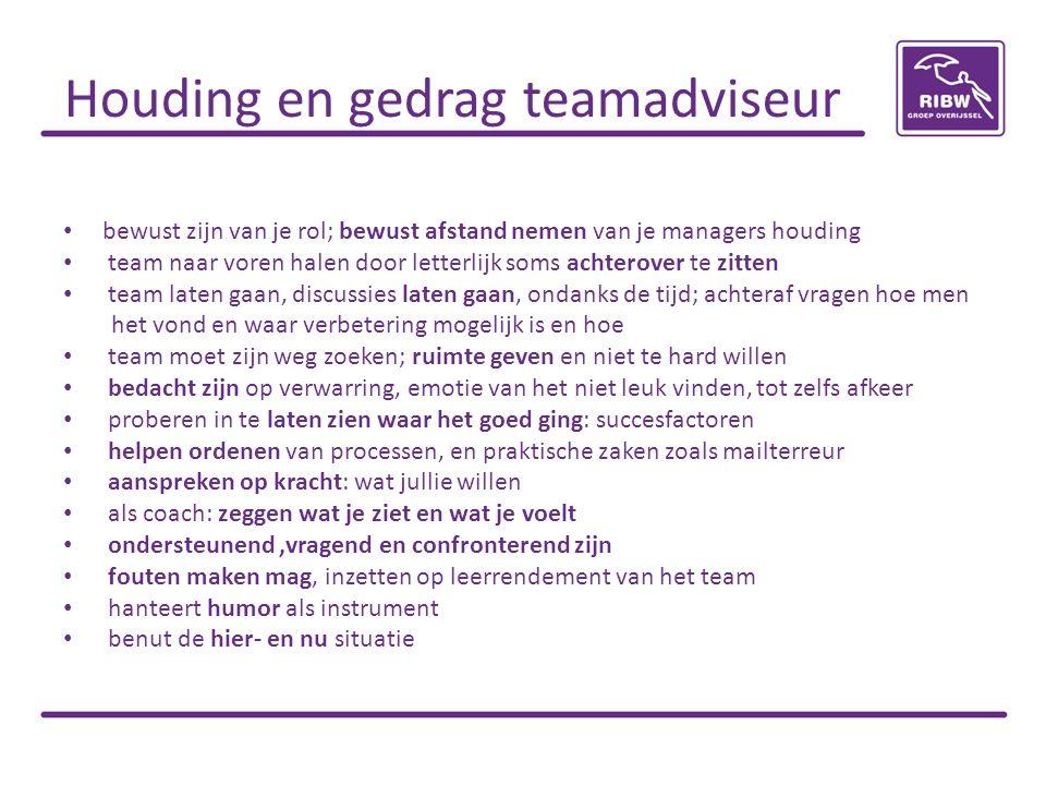 Houding en gedrag teamadviseur
