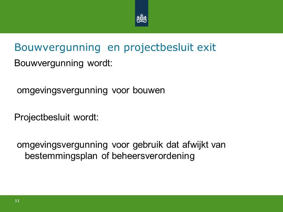 Bouwvergunning en projectbesluit exit