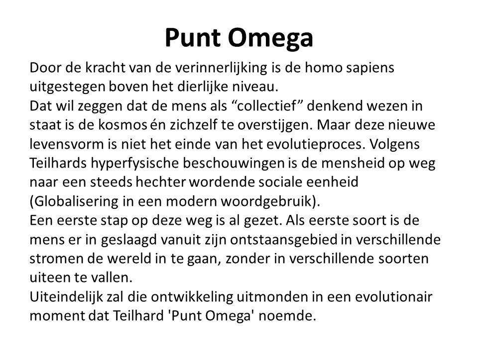 Punt Omega Door de kracht van de verinnerlijking is de homo sapiens uitgestegen boven het dierlijke niveau.
