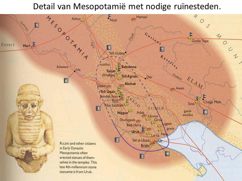Detail van Mesopotamië met nodige ruïnesteden.