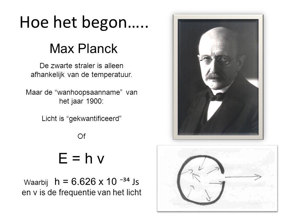 Hoe het begon….. E = h ν Max Planck