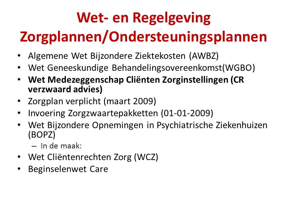 Wet- en Regelgeving Zorgplannen/Ondersteuningsplannen