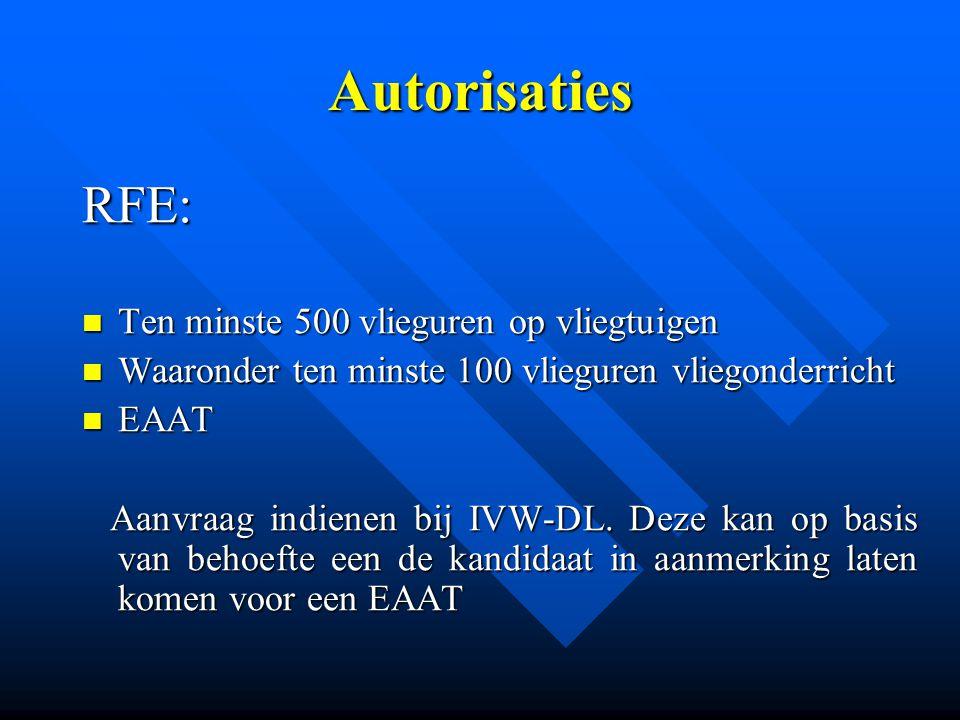 Autorisaties RFE: Ten minste 500 vlieguren op vliegtuigen