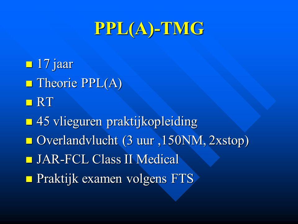 PPL(A)-TMG 17 jaar Theorie PPL(A) RT 45 vlieguren praktijkopleiding