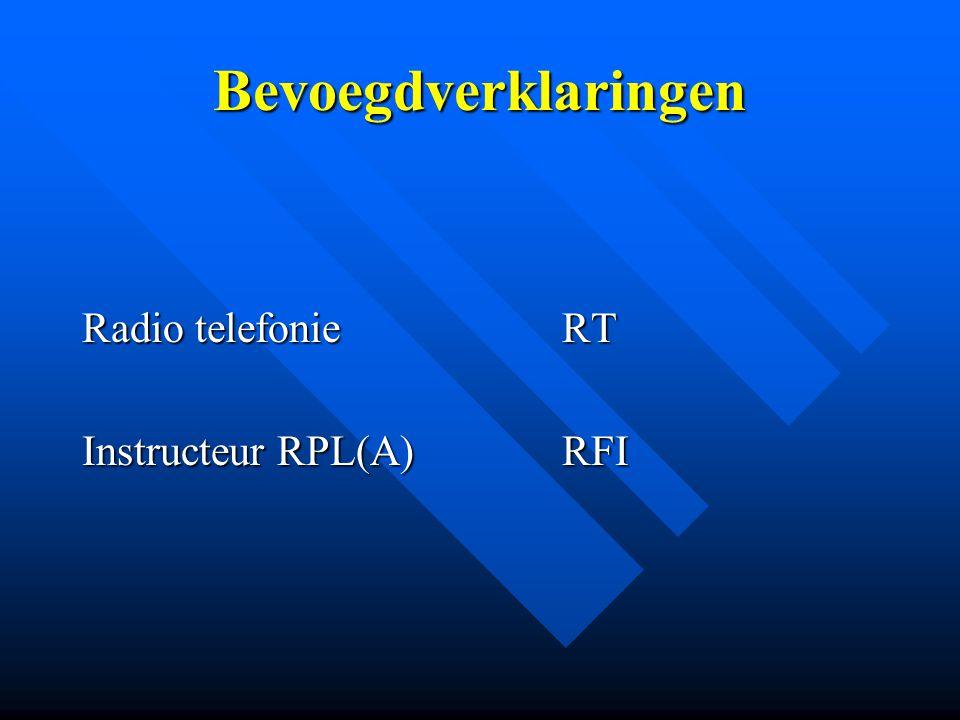 Bevoegdverklaringen Radio telefonie RT Instructeur RPL(A) RFI