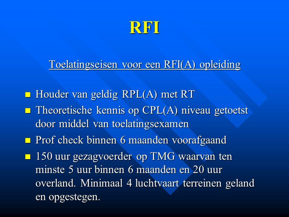 Toelatingseisen voor een RFI(A) opleiding
