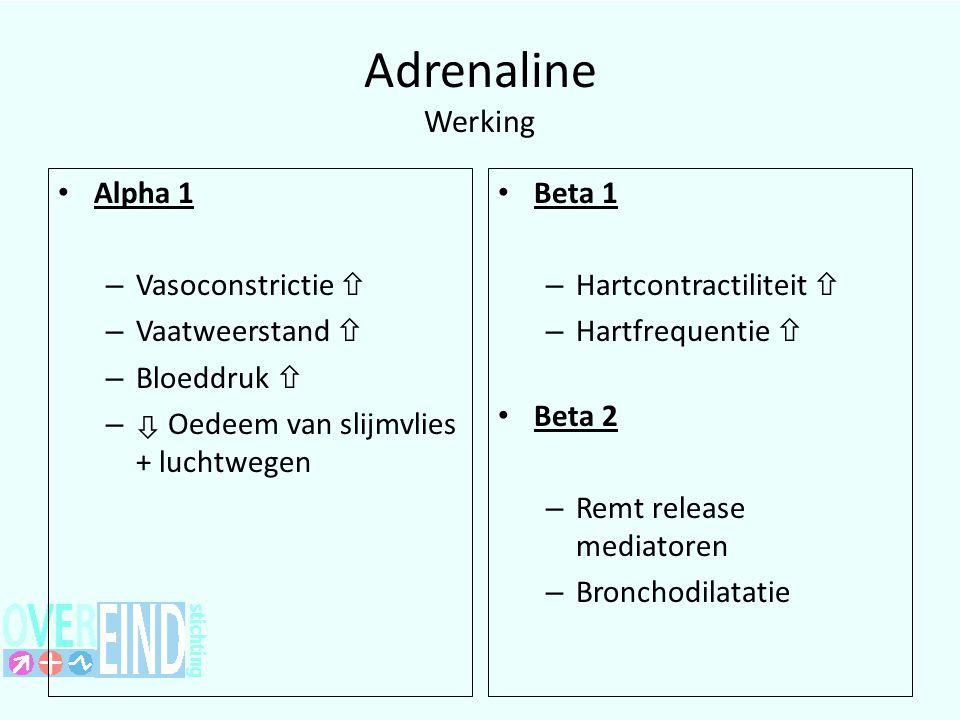 Adrenaline Werking Alpha 1 Vasoconstrictie  Vaatweerstand 