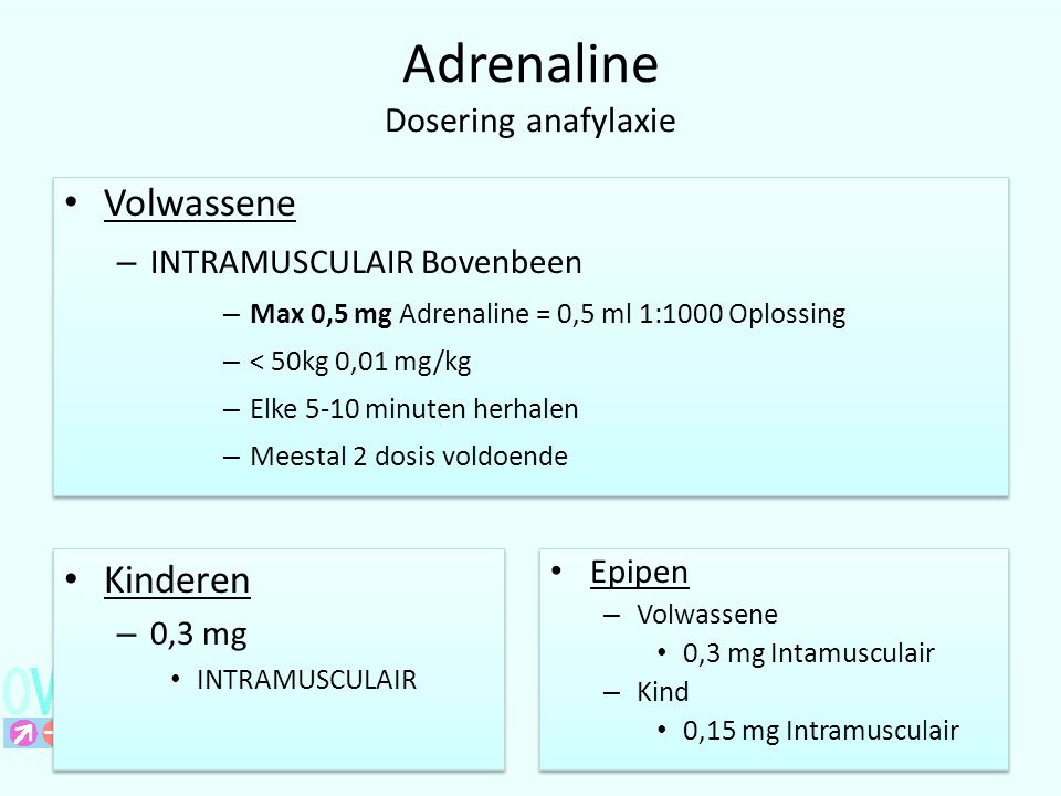 Adrenaline Dosering anafylaxie