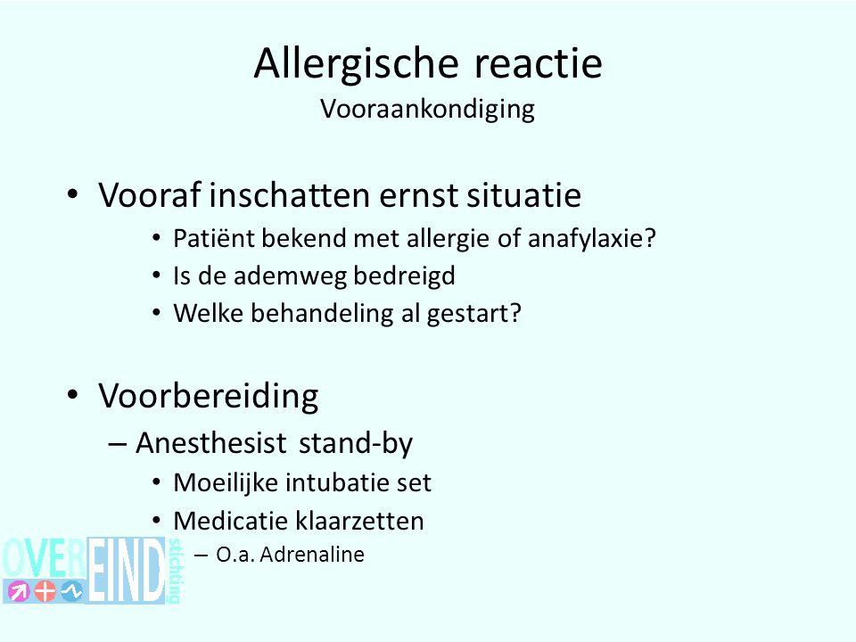 Allergische reactie Vooraankondiging