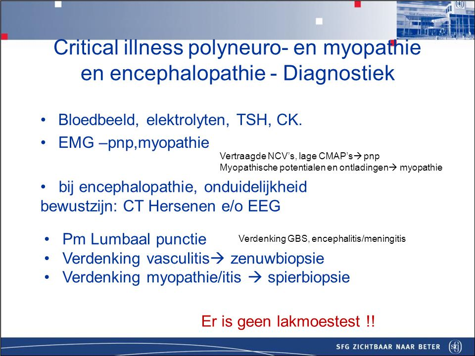 Critical illness polyneuro- en myopathie en encephalopathie - Diagnostiek