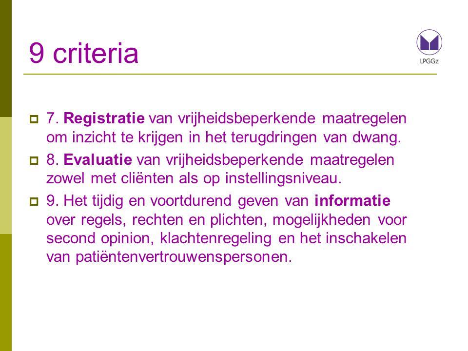 9 criteria 7. Registratie van vrijheidsbeperkende maatregelen om inzicht te krijgen in het terugdringen van dwang.