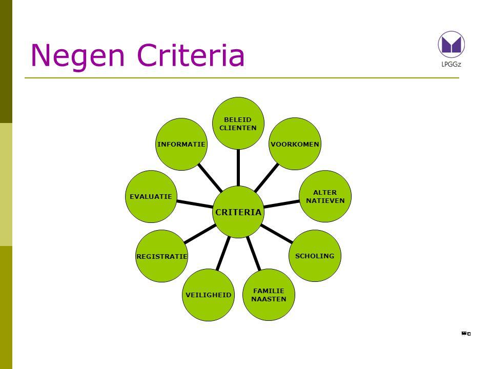 Negen Criteria 9 criteria in rapportage; aantal de revue laten passeren om een aanzet te geven voor de discussie.