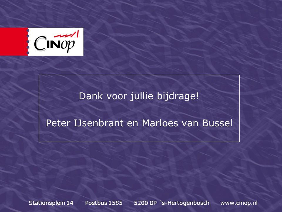 Dank voor jullie bijdrage! Peter IJsenbrant en Marloes van Bussel