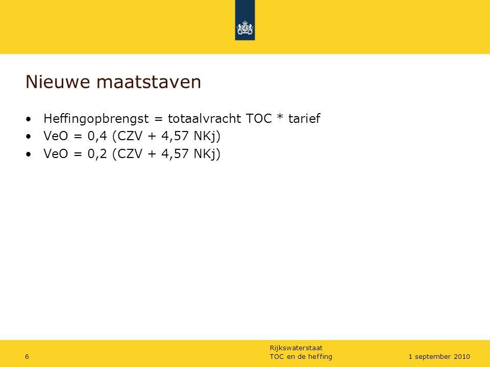 Nieuwe maatstaven Heffingopbrengst = totaalvracht TOC * tarief